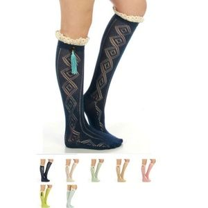Lace Trim Button Tassel Boot Socks Many Colors
